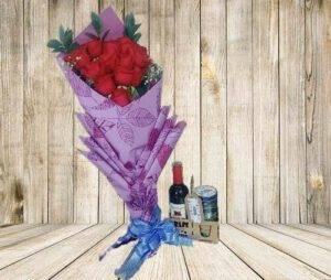 Arreglo Floral Bouquet y Vino, Desayunos sorpresas.com, Desayunos Bogota
