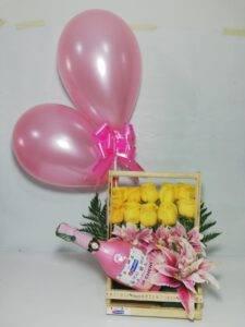 Detalles express-canasta champaña francesa con rosas-desayunossorpresas.com